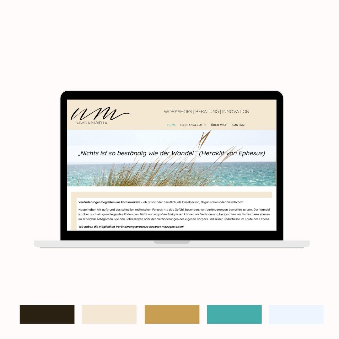 Nawina Mariella Website und Farbpalette